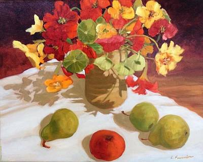 Painting - Nasturniums And Fruits by Liliane Fournier