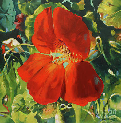 Painting - Nasturtium by Lin Petershagen