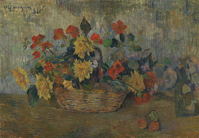 Painting - Nasturtiums And Dahlias In A Basket by Paul Gauguin