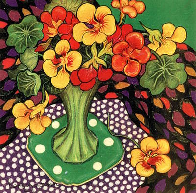 Pastel - Nasturtiums And Green Spotted Plates by Richard Lee