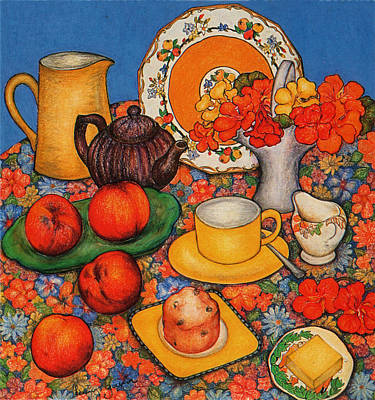 Pastel - Nasturtiums And Peaches by Richard Lee