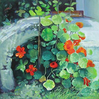 Nasturtiums Painting - Nasturtiums by Elena Oleniuc
