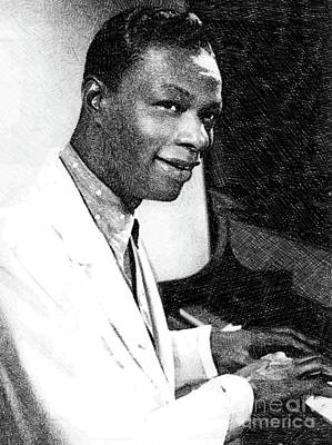 Musicians Drawings - Nat King Cole, Music Legend by JS by Esoterica Art Agency