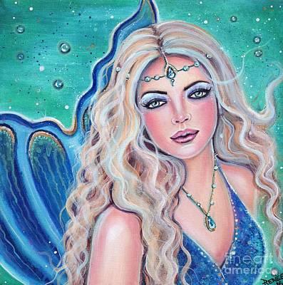 Big Eyed Girl Painting - Natalia Mermaid by Renee Lavoie