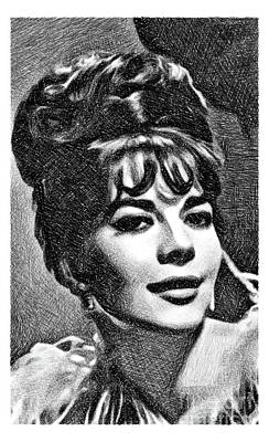 Musicians Drawings Rights Managed Images - Natalie Wood, Vintage Actress by JS Royalty-Free Image by Esoterica Art Agency