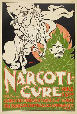 Digital Art - Narcoticure -- Stop Smoking Vintage Poster by Phat Artz