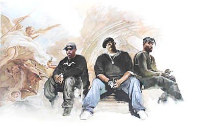 Black Gospel Painting - Nate, Biggie, 2pac / Wonder If Heaven Got A Ghetto by Jani Heinonen