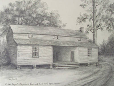 Drawing - Nathan Bryan's Stagecoach Inn And Bank Near Marshallville by Edna Garrett