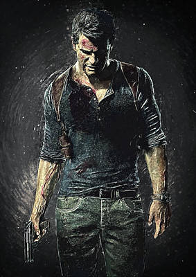 Digital Art - Nathan Drake - Uncharted by Taylan Apukovska