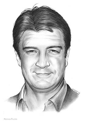Castles Drawing - Nathan Fillion by Greg Joens