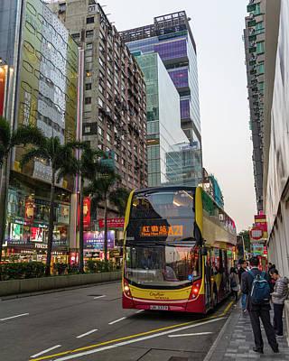 Photograph - Nathan Road Bus Stop Tsim Sha Tsui Kowloon Hong Kong China by Adam Rainoff