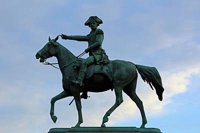 Photograph - Nathanael Greene Equestrian Statue Silhouette by Cora Wandel
