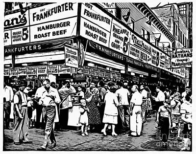 Hot Dogs Painting - Nathans Famous Frankfurter Coney Island Ny by Edward Fielding