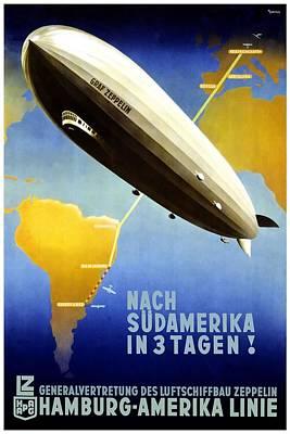 Mixed Media - Airship To South America - Hamburg - America Line - Retro Travel Poster - Vintage Poster by Studio Grafiikka