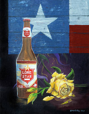 Texas Flag Painting - National Beer Of Texas by Jerry McElroy