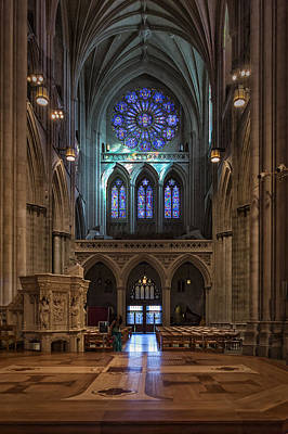 Photograph - National Cathedral West Rose Stained Glass Window by Belinda Greb