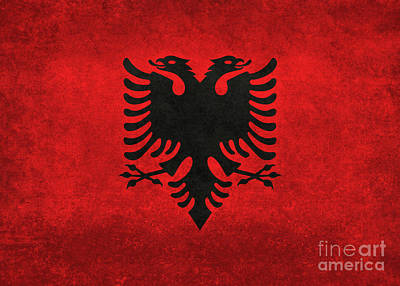 Art Print featuring the digital art National Flag Of Albania With Distressed Vintage Treatment  by Bruce Stanfield