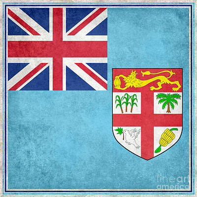 Oceania Digital Art - National Flag Of Fiji Vintage Version Augmented To Fit Sq Format by Bruce Stanfield