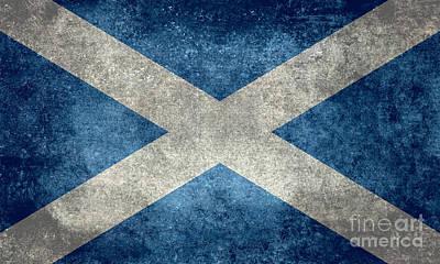 National Flag Of Scotland Vintage Version Art Print