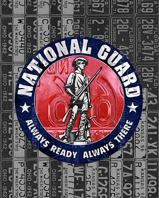 National Guard United States Logo Recycled Vintage License Plate Art Art Print by Design Turnpike