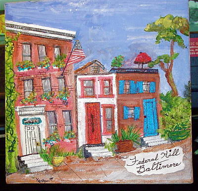 Federal Hill Painting - National Historic District Of Federal Hill In Baltimore, Maryland  by Kenlynn Schroeder