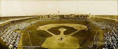 Photograph - National League Park Giants Vs Chicago Cubs August 30 1908 by George Lawrence Company