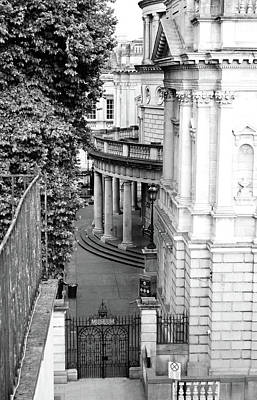 Photograph - National Museum Of Ireland Archeology Side Entrance Gate Dublin Ireland Black And White by Shawn O'Brien