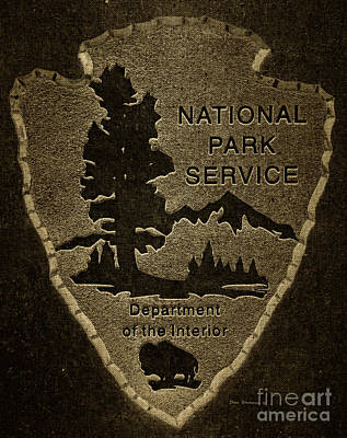 Photograph - National Park Service Logo Badge Fabric by John Stephens