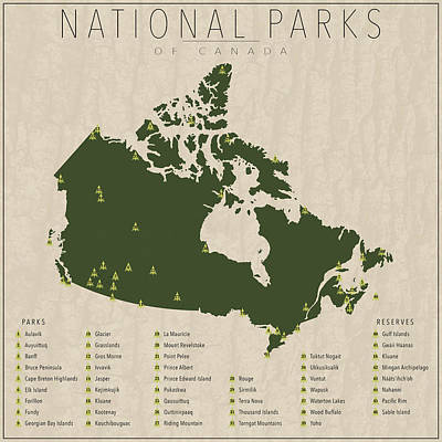Canadian Map Digital Art - National Parks Of Canada by Finlay McNevin