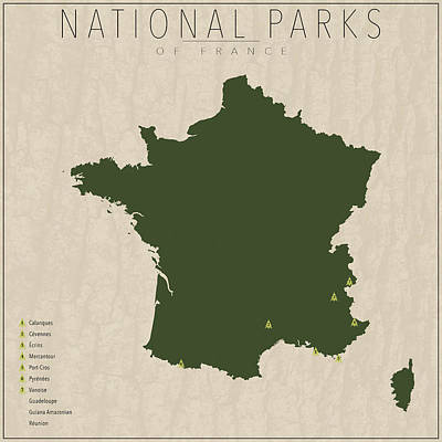 French Map Digital Art - National Parks Of France by Finlay McNevin