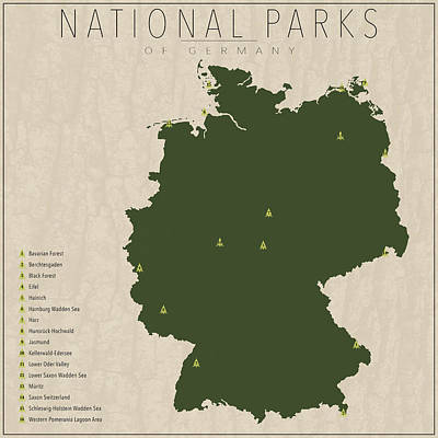 German Map Digital Art - National Parks Of Germany by Finlay McNevin