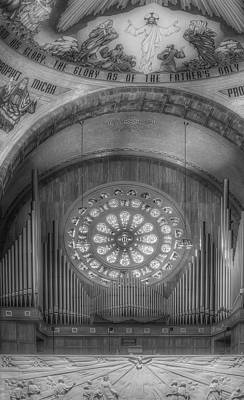 Photograph - National Shrine Rose Window And Organ Bw by Susan Candelario