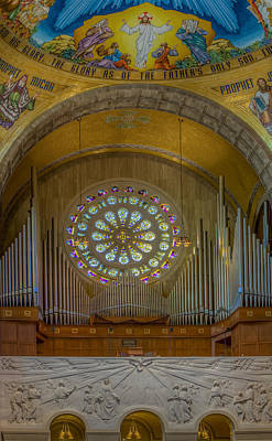 Photograph - National Shrine Rose Window And Organ by Susan Candelario