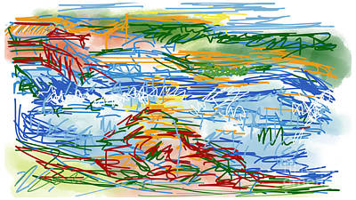 Loose Style Digital Art - National Whitewater Center Abstract Sketch by Robert Yaeger