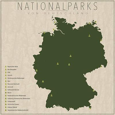 German Map Digital Art - Nationalparks Von Deutschland by Finlay McNevin