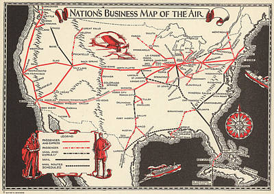 Mixed Media - Nations Business Map Of The Air - North America - Air Routes - Vintage Illustrated Map by Studio Grafiikka