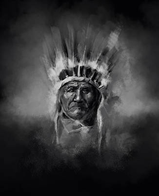 Painting - Nativ American Chief-geronimo by Bekim Art