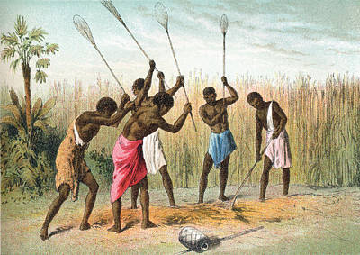 Beating Drawing - Native Africans Beating Sorghum, Or by Vintage Design Pics