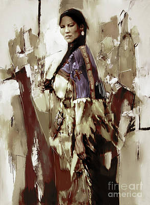 Elaborate Painting - Native America Woman 33 by Gull G