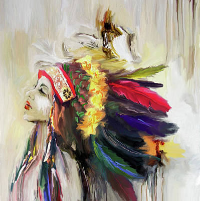 Indian Cultural Painting - Native American 274 1 by Mawra Tahreem