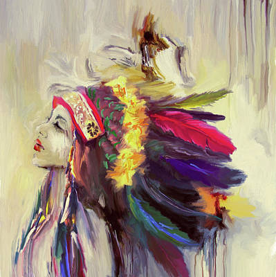 Oil Paint Painting - Native American 274 3 by Mawra Tahreem