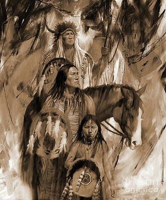 First Family Painting - Native American 456p by Gull G
