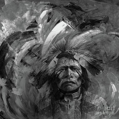 First Tribes Painting - Native American 5545l by Gull G