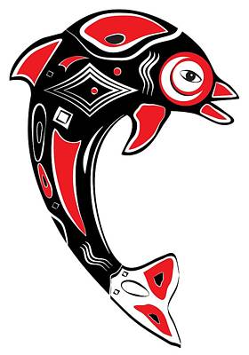 Digital Art - Native American Animal Dolphin Symbol by Serena King