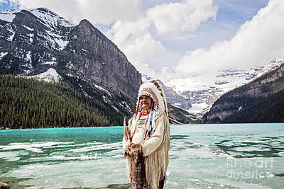Native American At Lake Louise Art Print