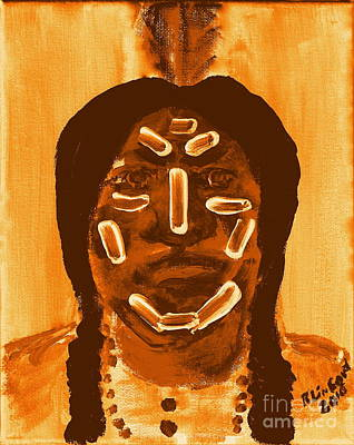 Painting - Native American Brave War Paint 2 by Richard W Linford