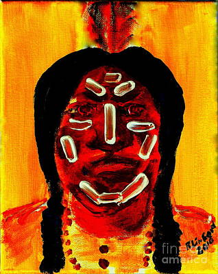 Painting - Native American Brave War Paint 3 by Richard W Linford