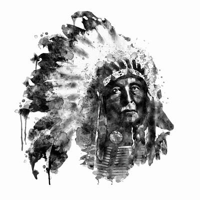 Native American Chief Black And White Art Print by Marian Voicu
