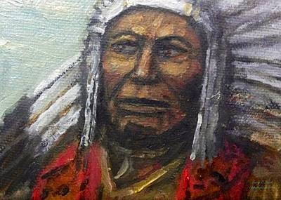 Indian Tribal Art Painting - Native American Chief Eagle Claw by Larry Lamb