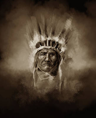 Painting - Native American Chief-geronimo 3 by Bekim Art